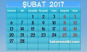 2017 Yılı Şubat Ayı Takvimi
