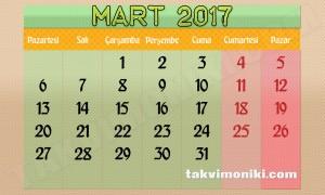 2017 Yılı Mart Ayı Takvimi