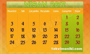 2017 Yılı Nisan Ayı Takvimi