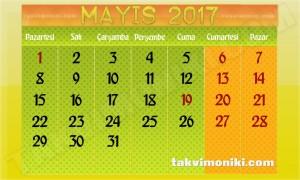 2017 Yılı Mayıs Ayı Takvimi ve Resmi Tatiller