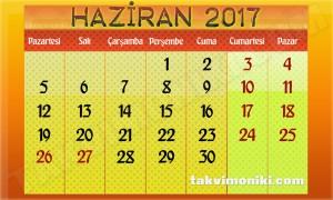2017 Yılı Haziran Ayı Takvimi Resmi Tatiller Bayram Tatili