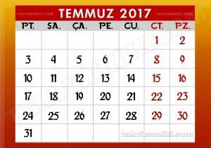2017 Yılı Temmuz Ayı Takvimi
