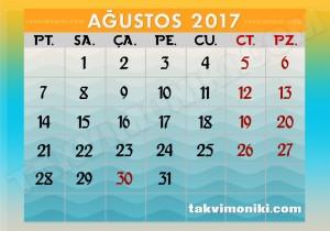 2017 Ağustos Ayı Takvimi
