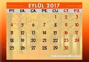2017 Eylül Takvimi Resmi Tatil Günleri