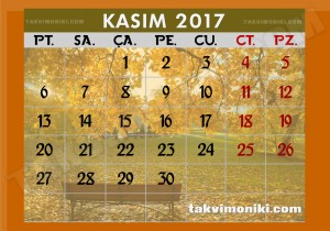 2017 Yılı Kasım Ayı Takvimi