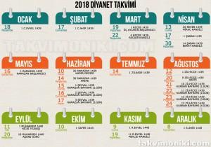 2018 Diyanet Takvimi