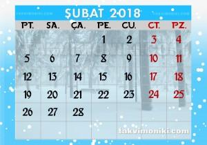 2018 Şubat Ayı Takvimi