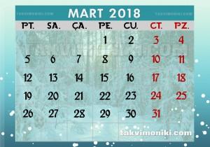 2018 Mart Ayı Takvimi