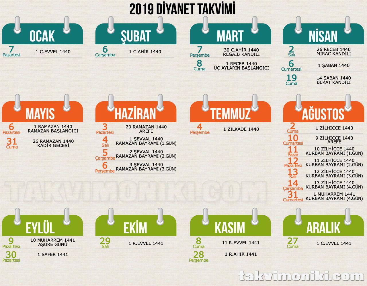 2019 Diyanet Görsel Takvimi