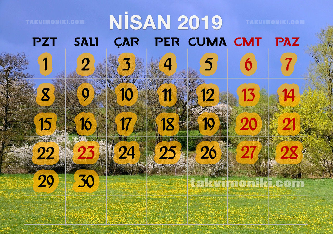 Nisan 2019 Görsel Takvim