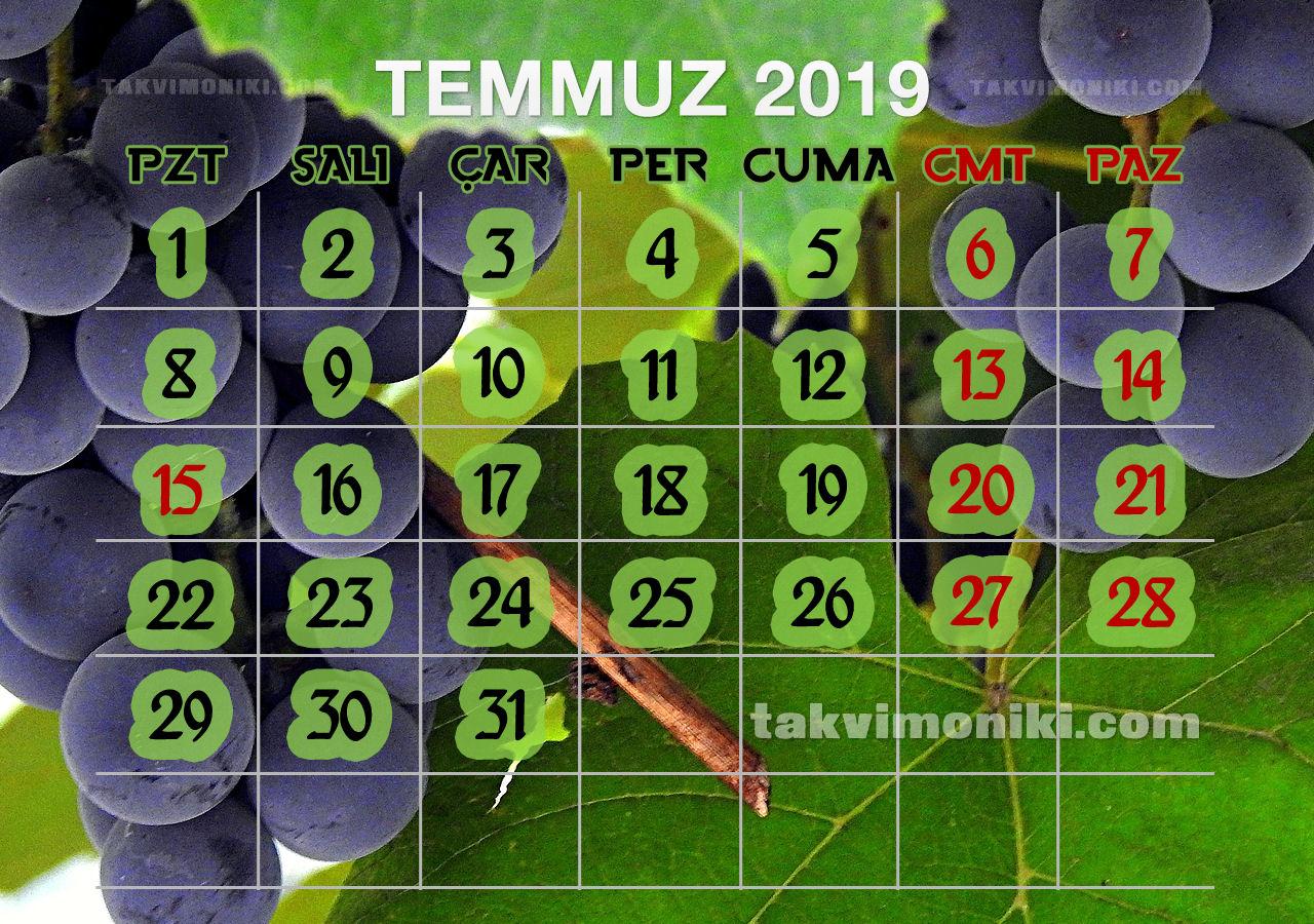 Temmuz 2019 Görsel Takvim