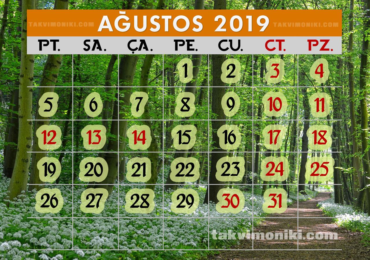 Ağustos 2019 Görsel Takvim